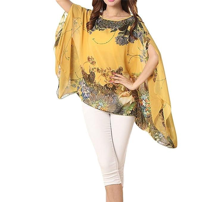 Landove Blusas Gasa Mujer Verano Boho Camiseta Manga 3/4 Tunicas Top Flores Kimono Pareos