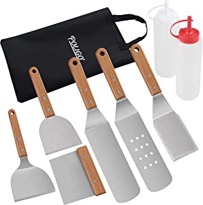 POLIGO 9PCS Restaurant Grade Griddle Accessories Set with Carrying Bag - Professional Griddle Spatula Tool Set with Wooden Handle - Great for Flat Top Grill Hibachi Cooking Tailgating Grilling Gifts