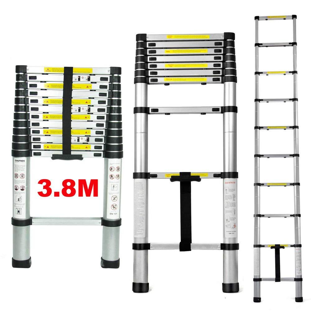 Qitao 3.8 m É chelle té lescopique multi-usage en aluminium DIY extensible d'augmenter –  Portable Pliable 13 é tapes pour Home Loft Bureau Charge maximale 149, 7 kilogram (12.5tf/3.8 m)