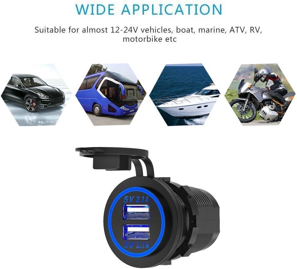 Dual USB 4.2A Charger Socket 12V//24V Waterproof Power Outlet for Car Boat Marine Motorcycle Blue LED