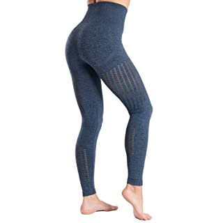 High Waisted Seamless Leggings for Women Tummy Control Workout Gym Butt Lifting Tights Mesh Yoga Pants Blue