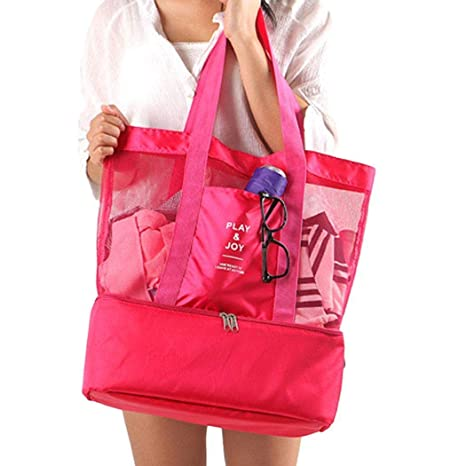 0b48b21b0024 Portable Insulated Thermal Picnic Lunch Box Double Layer Shoulder Bag Lunch  Bags