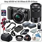 Sony A5100 Mirrorless Digital Camera Bundle with 16-50mm and 55-210mm (Black) & eDigitalUSA Premium Kit