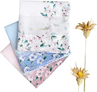 Ladies Handkerchiefs 100% Premium 60s Cotton Womens Hankies 17 (43cm) Square Hanky
