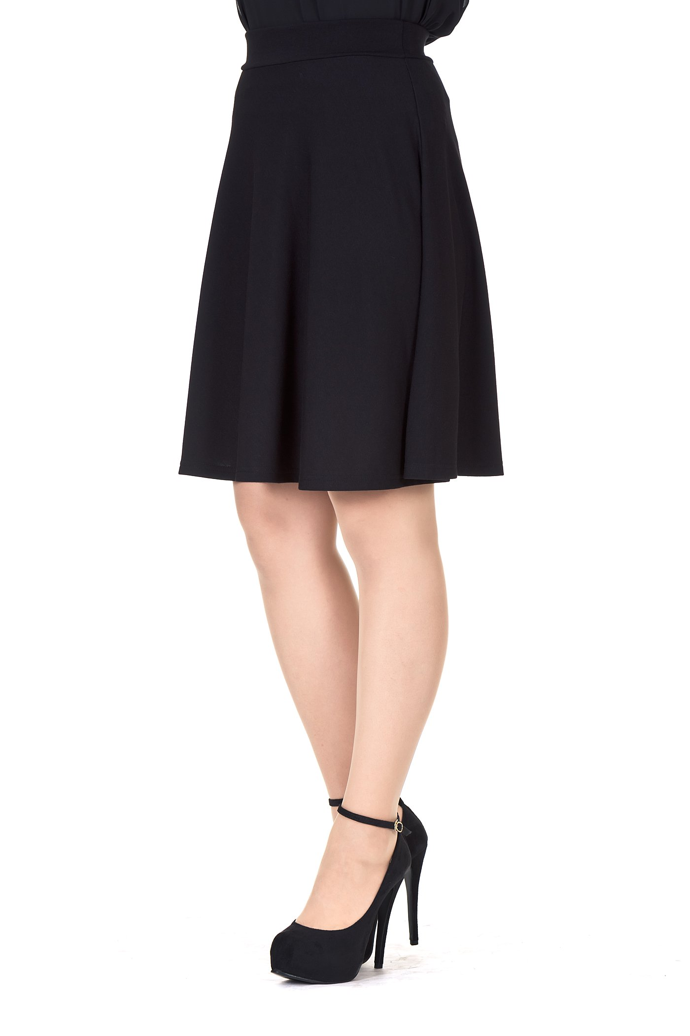 Simple Stretch A-line Flared Knee Length Skirt (XL, Knee Black) by Dani's Choice (Image #2)