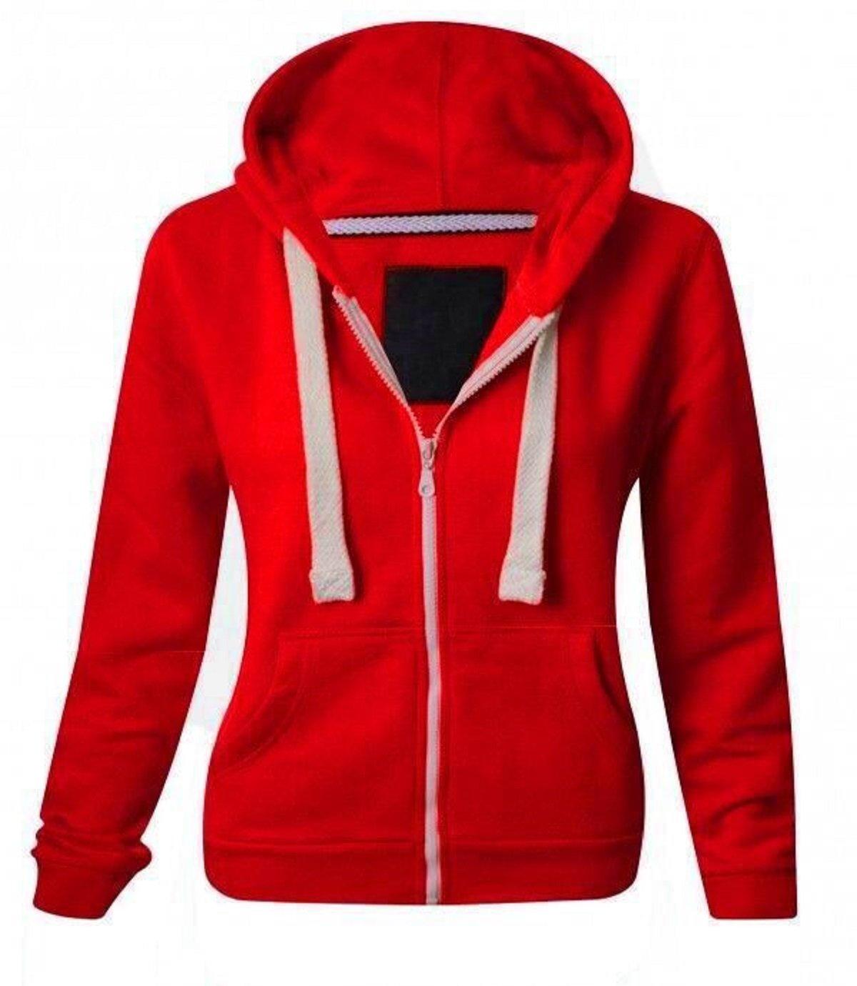 ZJ FASHIONS Kids Girls & Boys Plain Fleece Hoodie Zip up Zipper (11/12, Red)