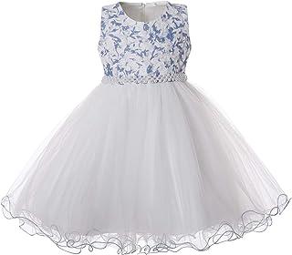 CIELARKO Vestito Principessa Bambina Floreale Abiti Formale Tulle Vestiti Cerimonia Ragazza Elegante per 2 to 11 Anni