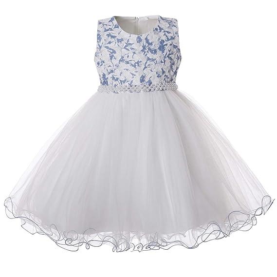 check out 40c75 b302c CIELARKO Vestito Principessa Bambina Floreale Abiti Formale Tulle Vestiti  Cerimonia Ragazza Elegante per 2 to 11 Anni