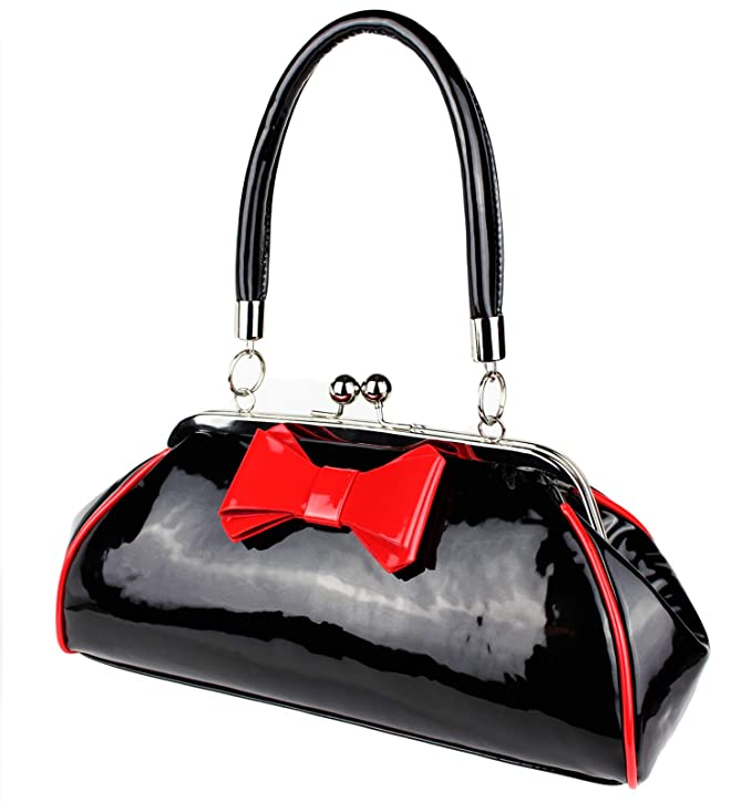 Schompi Bolso Retro Para Mujer, Lazo Decorativo, Charol, Negro Rojo