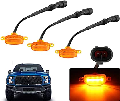 For Ford F-150 Raptor Front Grille 3pcs Smoked Lens Amber LED Lamp Running Light
