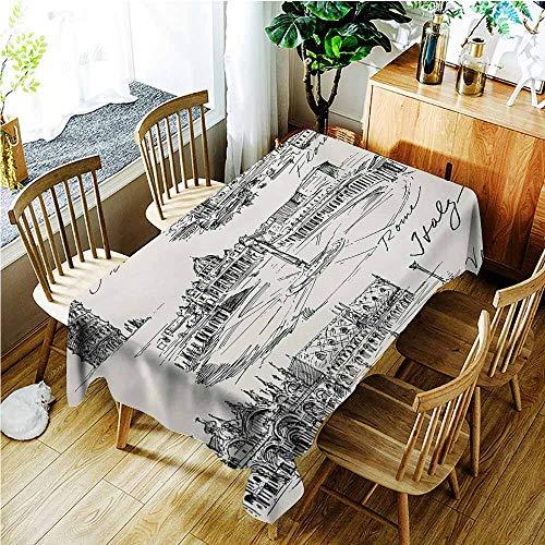 Rectangular Tablecloth,Sketchy Travel The World Themed Historical Italian Landmarks Venice Rome Florence Pisa,Dinner Picnic Table Cloth Home Decoration,W54x72L,Black White