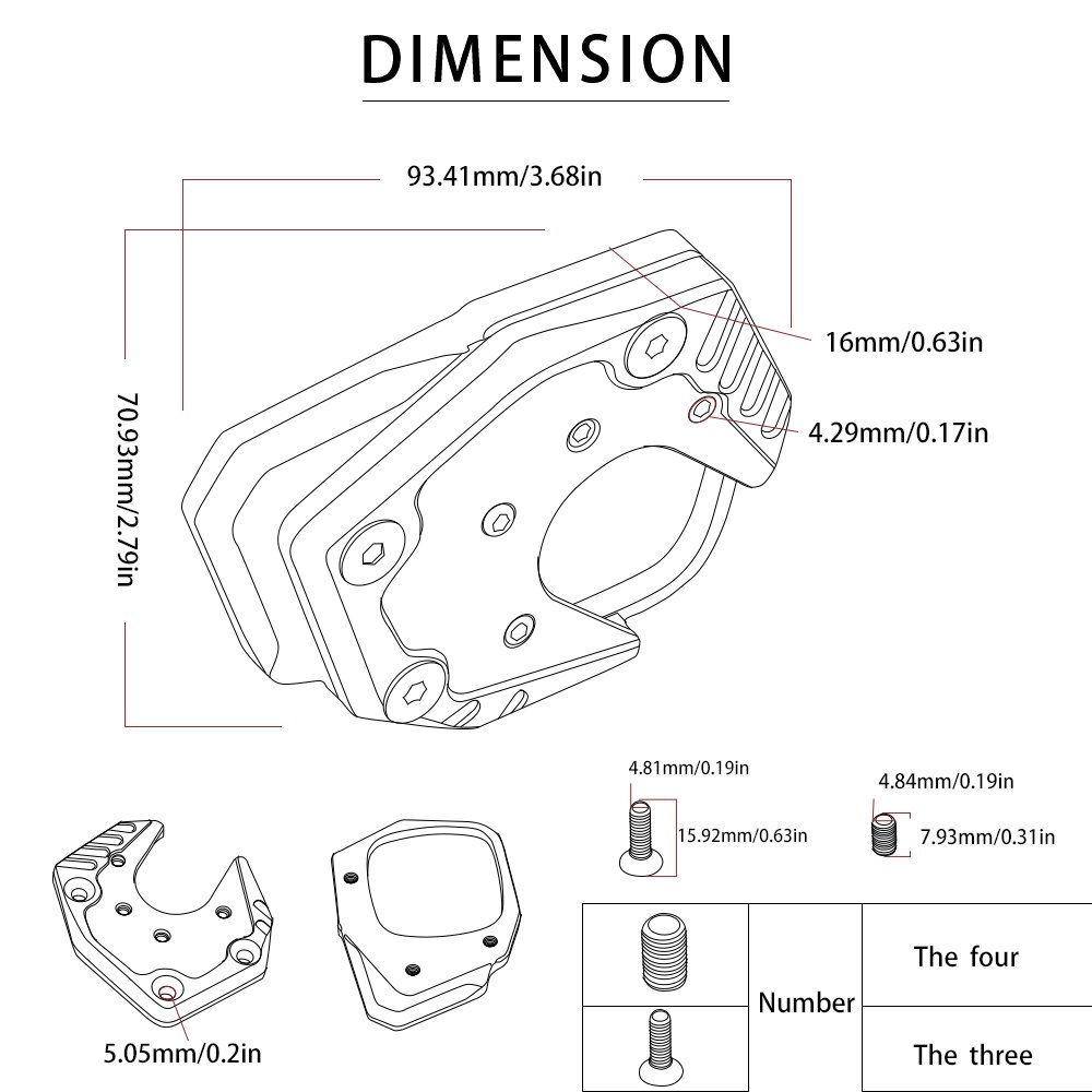 X-ADV Motorcycle Kickstand Pad Side Stand Enlarger Plate Pad for Honda XADV X-ADV 750 2017 2018-Black+Titanium YUANQIAN