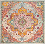 Safavieh Crystal Collection CRS501B Light Blue and Fuchsia Pink Bohemian Medallion Area Rug (7' Square)