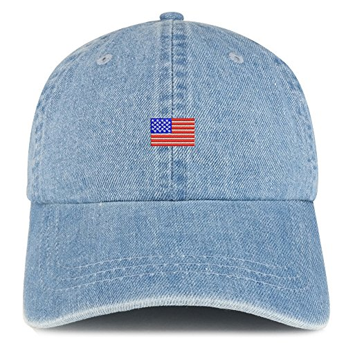 US American Flag Small Embroidered 100% Cotton Denim Cap Dad Hat - Light Blue ()