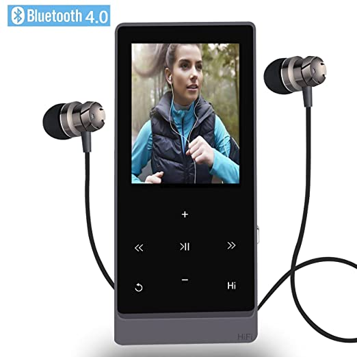 MP3 Player with Bluetooth,8GB Hi-Fi Lossless Sound Music Players with Touch Button, FM Radio,Voice Recorder Function, Support Expandable up to 32GB (Black)