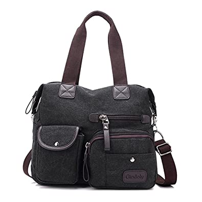 Women s handbag,Gindoly Multi Pocket Large Shoulder Bag Tote Fashion Handbag  Canvas Hobo Bags for 0b554c49e3