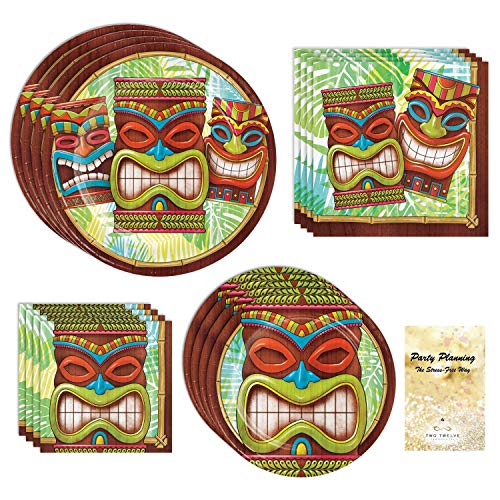 Luau Party Supplies, Tiki Design, 16 Guests, 65 Pieces, Disposable Paper Dinnerware, Plate and Napkin Set