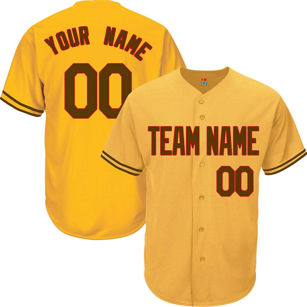 Yellow Custom Baseball Jersey for Men Button Down Embroidered Team Player Name & Numbers,Brown-Red Size S