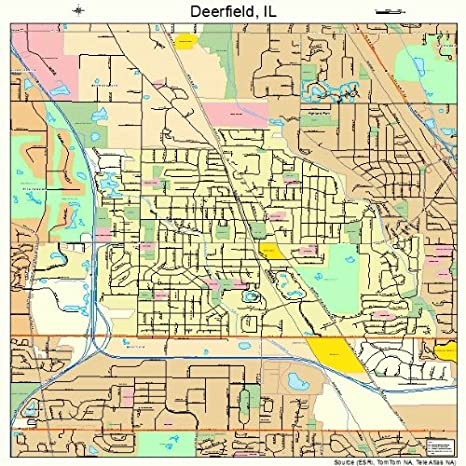 Amazon Com Large Street Road Map Of Deerfield Illinois Il