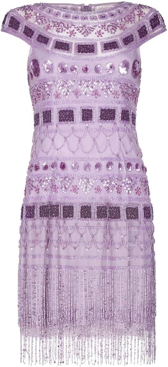 Vintage 1920s Dresses – Where to Buy gatsbylady london Beverley Vintage Inspired Fringe Flapper Dress in Lilac £129.00 AT vintagedancer.com