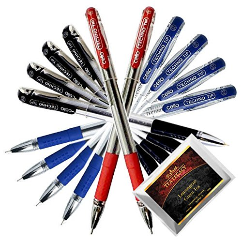 Cello Techno Tip Blue Black Red Pen Exam Series 0.6 mm Tip (10 Ball Point Pens + TeaLegacy Free Sampler). Comfortable Writing or Write Long Time In School College Low Pressure High Volume Elastic Grip