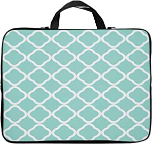 Britimes Laptop Case Protection Bag, Turquoise Green White Qua Trefoil Geometric Grid Classic Moroccan Style 11 12 13 inch Neoprene PC Computer Sleeve Waterproof Notebook Handle Carrying Bag
