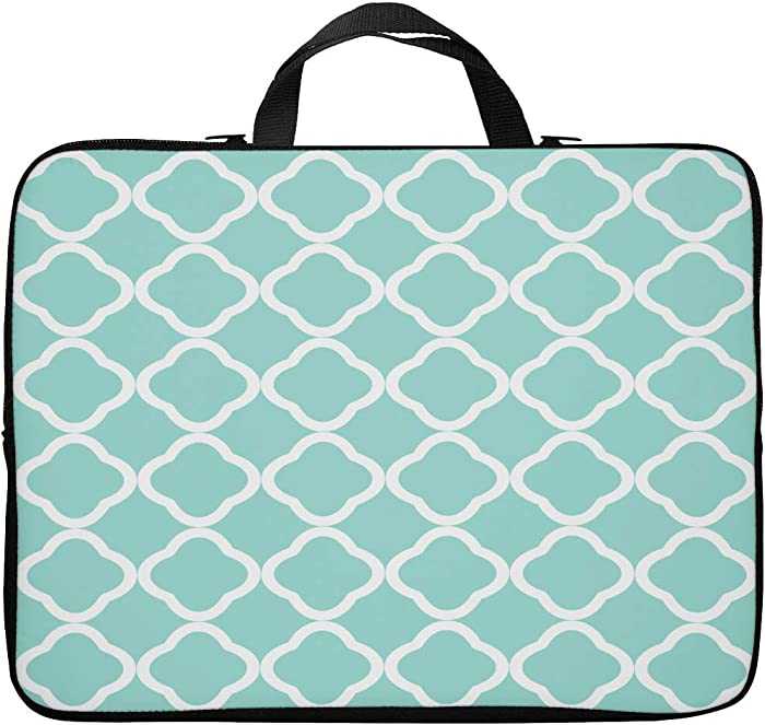 Britimes Laptop Case 14 15 15.6 inch, Turquoise Green White Qua Trefoil Geometric Grid Classic Moroccan Style Neoprene PC Computer Sleeve Waterproof Notebook Handle Carrying Bag