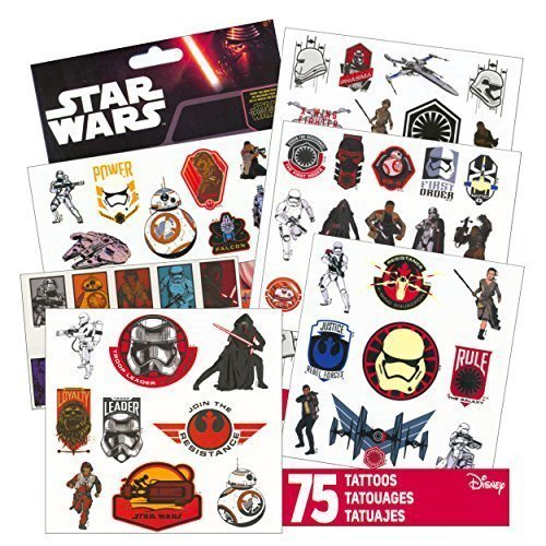 Tattoos Five Temporary - Star Wars Tattoos - 75 Assorted Temporary Tattoos ~ Kylo Ren, Rey, Captain Phasma, Stormtroopers, BB-8, and More! by Disney Studios