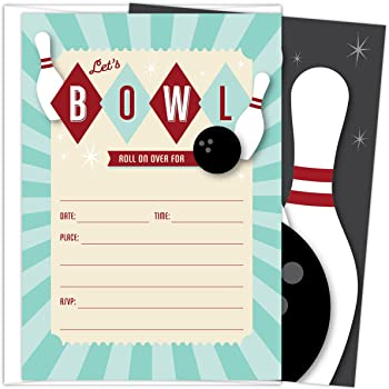 amazon com 24 bowling fill in kids birthday party invitations toys