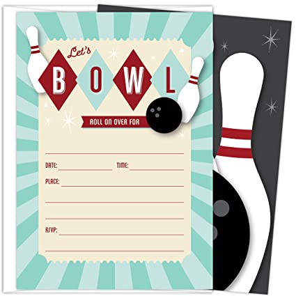 Bowling Party Invitations Set Of 25 Fill In Style Themed Cards And Envelopes For