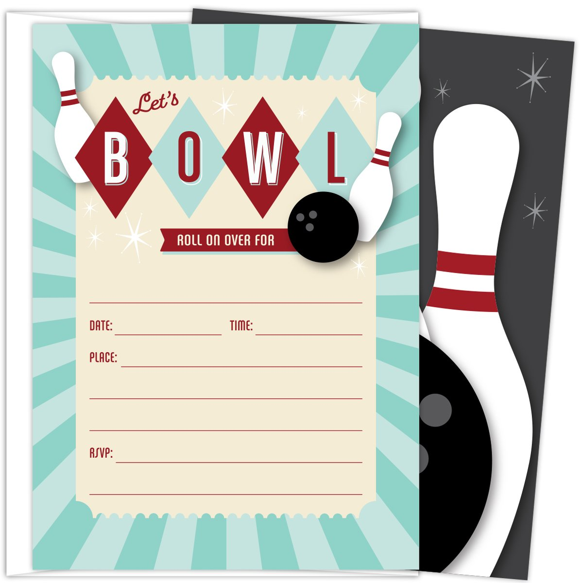 Bowling Party Invitations. Set of 25 Fill In Style Bowling Themed Cards and Envelopes for Kids Birthday Parties, Baby Showers and Sprinkles, Bowling Parties, or Any Occasions.