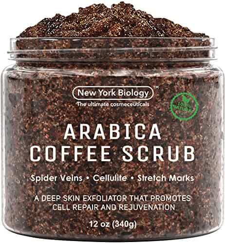 100% Natural Arabica Coffee Body Scrub 12 oz with Organic Ingredients – Best for Stretch Marks , Acne , Anti Cellulite & Spider Vein Therapy for Varicose Veins
