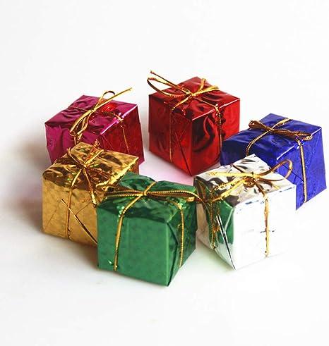 Fangfeen 6pcs / Set 6cm Colorido Mini Caja de Regalo del árbol de Navidad Adornos de Año Decoraciones para Colgar en la Fiesta de Navidad de Suministro: Amazon.es: Hogar
