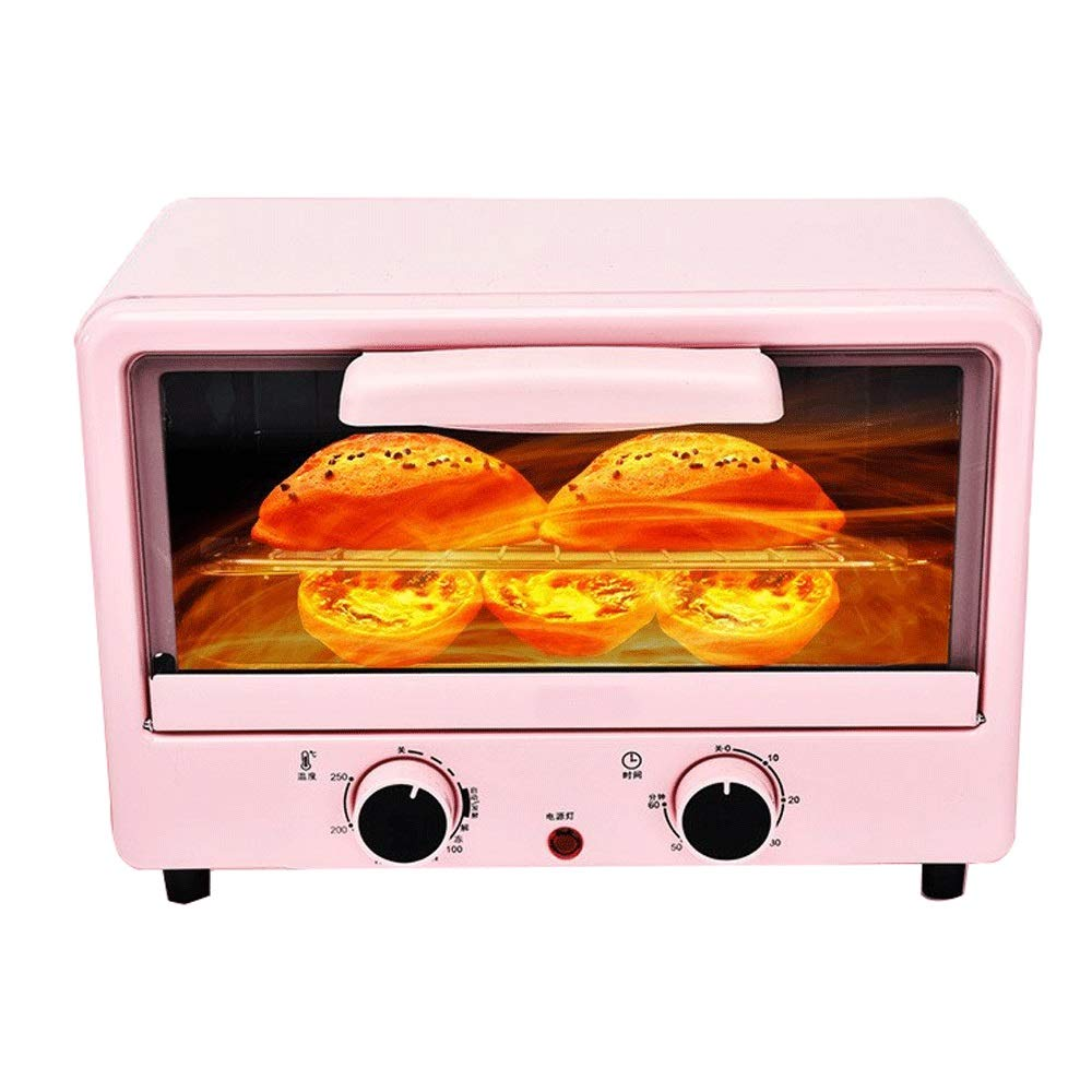 LQRYJDZ Mini Toaster Oven,Electric Oven Horizontal Cake Bread Baking Machine Pizza Baking Cake 12 liters Electric Oven,Includes Bake Pan, Broil Rack (Color : Pink, Size : 36.9 x 21.4 x 29.6CM) by LQRYJDZ