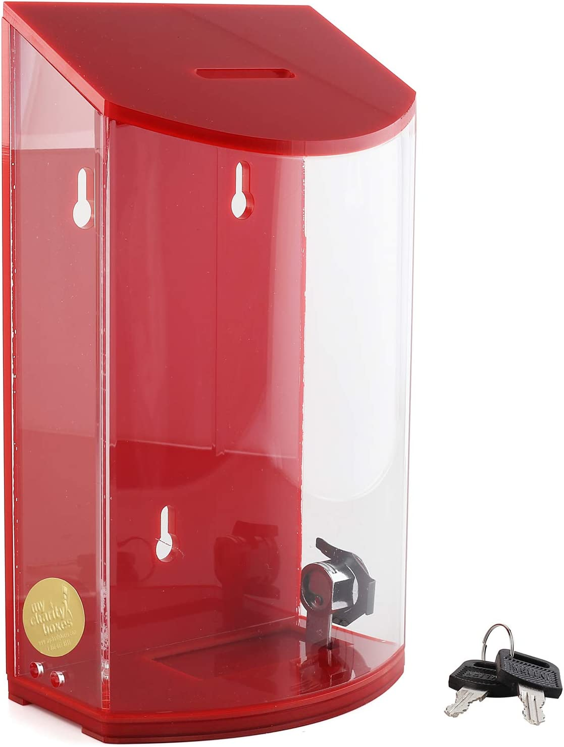 My Charity Boxes - Rounded Acrylic Box - Charity Box - Donation Box - Collection Box - Tip Container - Kupat Tzedakah (Red)