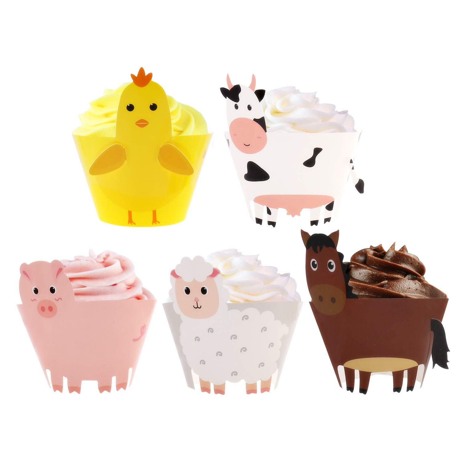 Farm Animal Cupcake Wrappers Toppers Farmhouse Party Supplies Birthday Cake Decorations