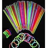 Dealglad 8 Inch Luminous Fluorescent Glow Sticks Light Stick Bracelets Necklaces Mixed Colors Party Supplies (50)