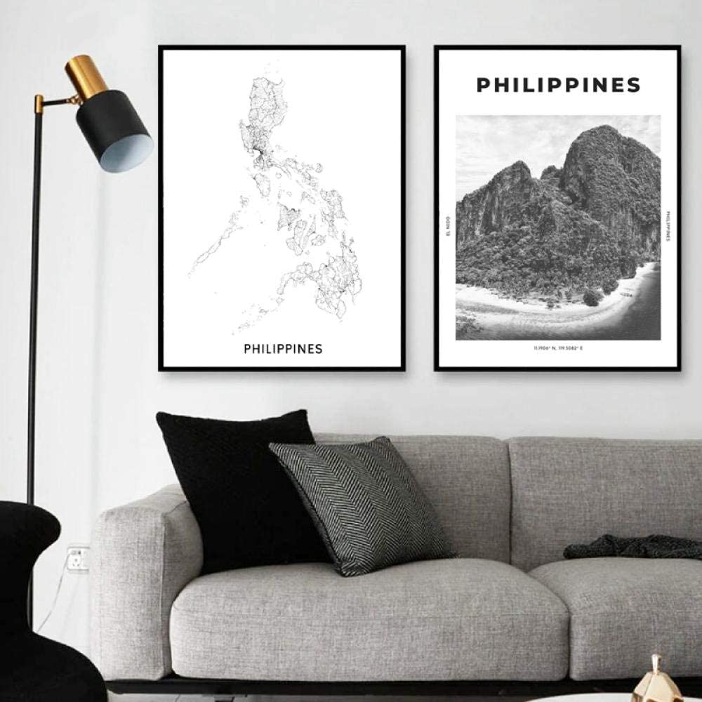 Amazon Com Room Philippines Map Canvas Print Black White Poster Travel Wall Art Pictures City Coordinates Painting Home Decor 40x60cmx2 No Frame Posters Prints