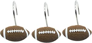 Doupoo Home Decorative Football Shower Curtain Hooks Set of 12 (Football)