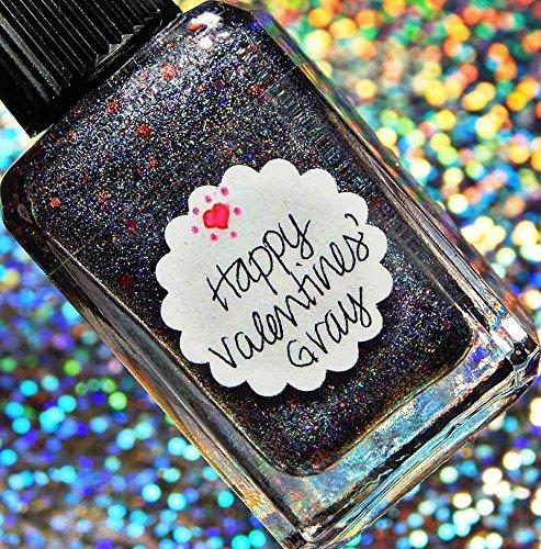 Lynnderella Valentines Gray-Silver Holographic Nano Glitter Nail Polish—Happy Valentines' Gray by Lynnderella
