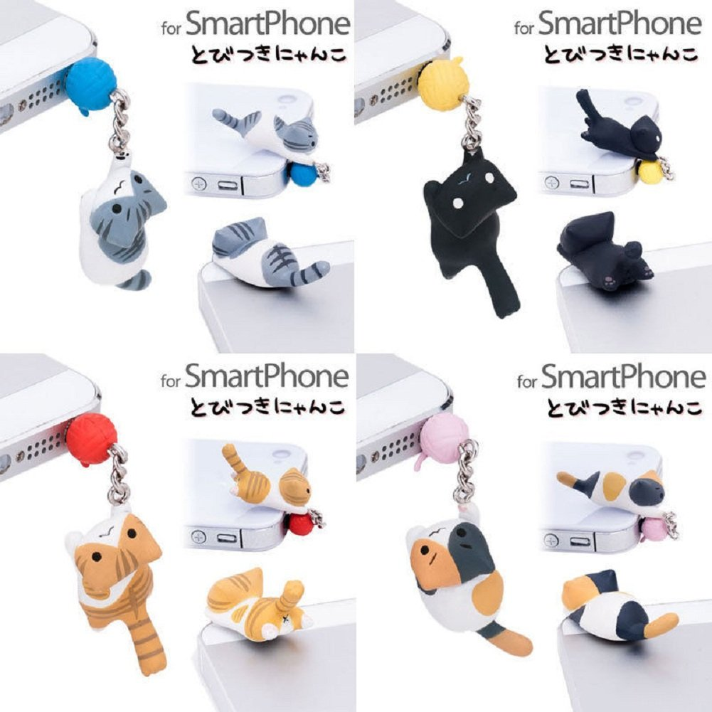 1Pc Cute Cat and Ball 3.5mm Earphone Ear Cap Anti Dust Plug Cover For Cell Phone (Black) by USGreatgorgeous (Image #4)