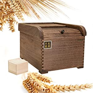 Rice storage box Rice Storage Box with Lid, 5kg Rice Storage Box Insect-Proof Moisture-Proof Grain Container with Measuring Cup Rice Box Wood, Storage container (Color : 1)