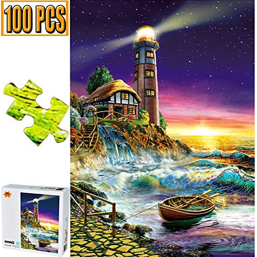 Cool Wall Decal Sticker Vinyl 100 Pieces Jigsaw Puzzles Puzzle Artwork Art for Teen Adult Grown Up Puzzles Large Size Toy Educational Games Gift 100 PCS Home Decor Toys Games (Lighthouse) ()