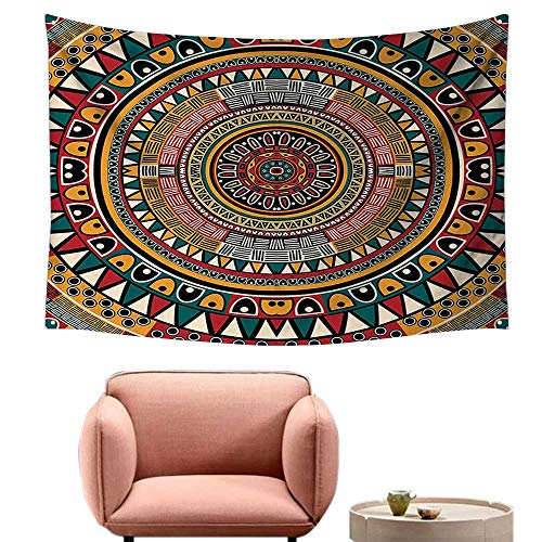 "alsohome Dorm Tapestry Wall Hanging Rectangle Tapestry for Living Room Folkloric Tribe Round Pattern Colors Aztec Jade Ruby and Mustard 93""X70"""