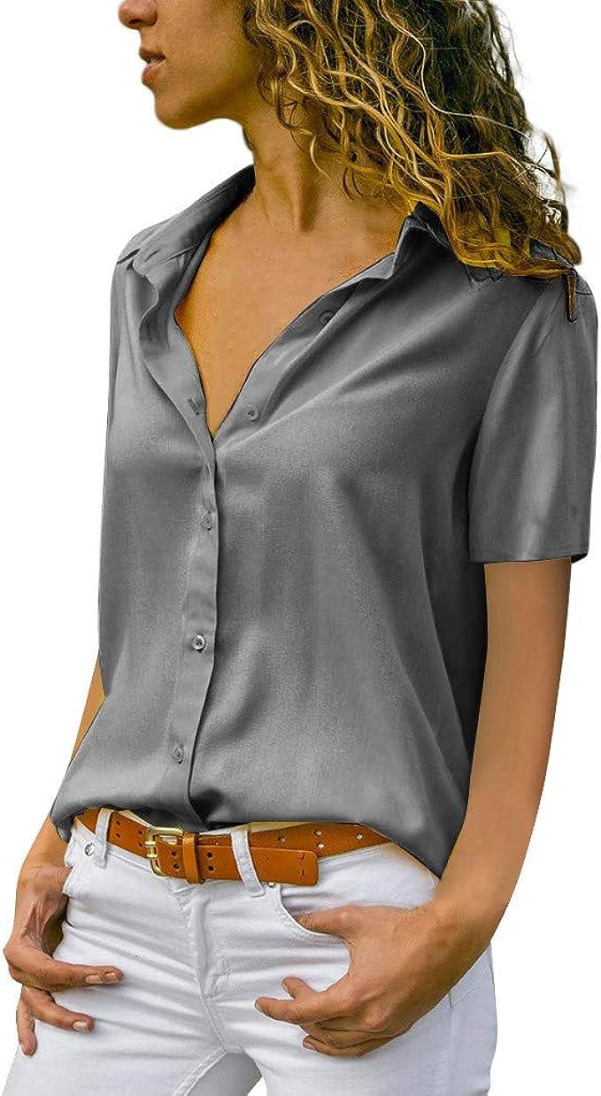 TOPKEAL Moda Blusa para Mujer de Gasa y Sólida Ladies ...