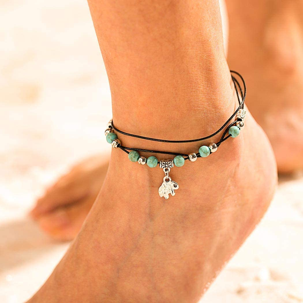 Turquoise Ankle Bracelet Silver Anklet Beaded with Turquoise Gemstone Anklet Gift for Her Beach Jewelry Anklets Ankle jewelry