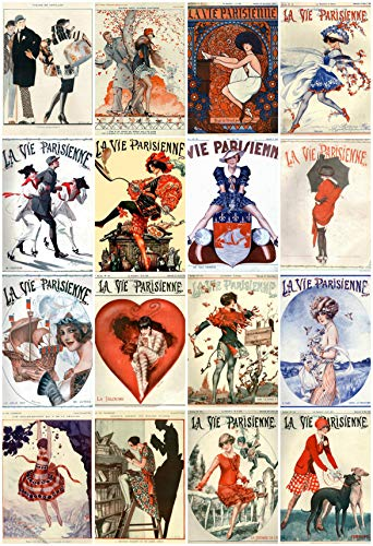 "Vintage Printed Art Deco""La Vie Parisienne"" Reproduction Magazine Covers Images Collage Sheet #108 Scrapbooking, Decoupage, Labels, Card Making, Crafts"