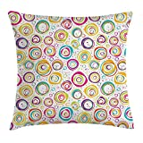 Ambesonne Geometric Throw Pillow Cushion Cover, Cute Childish Spirals with Funny Dots Bubbles Background Kids Nursery Theme Print, Decorative Square Accent Pillow Case, 36 X 36 inches, Multi