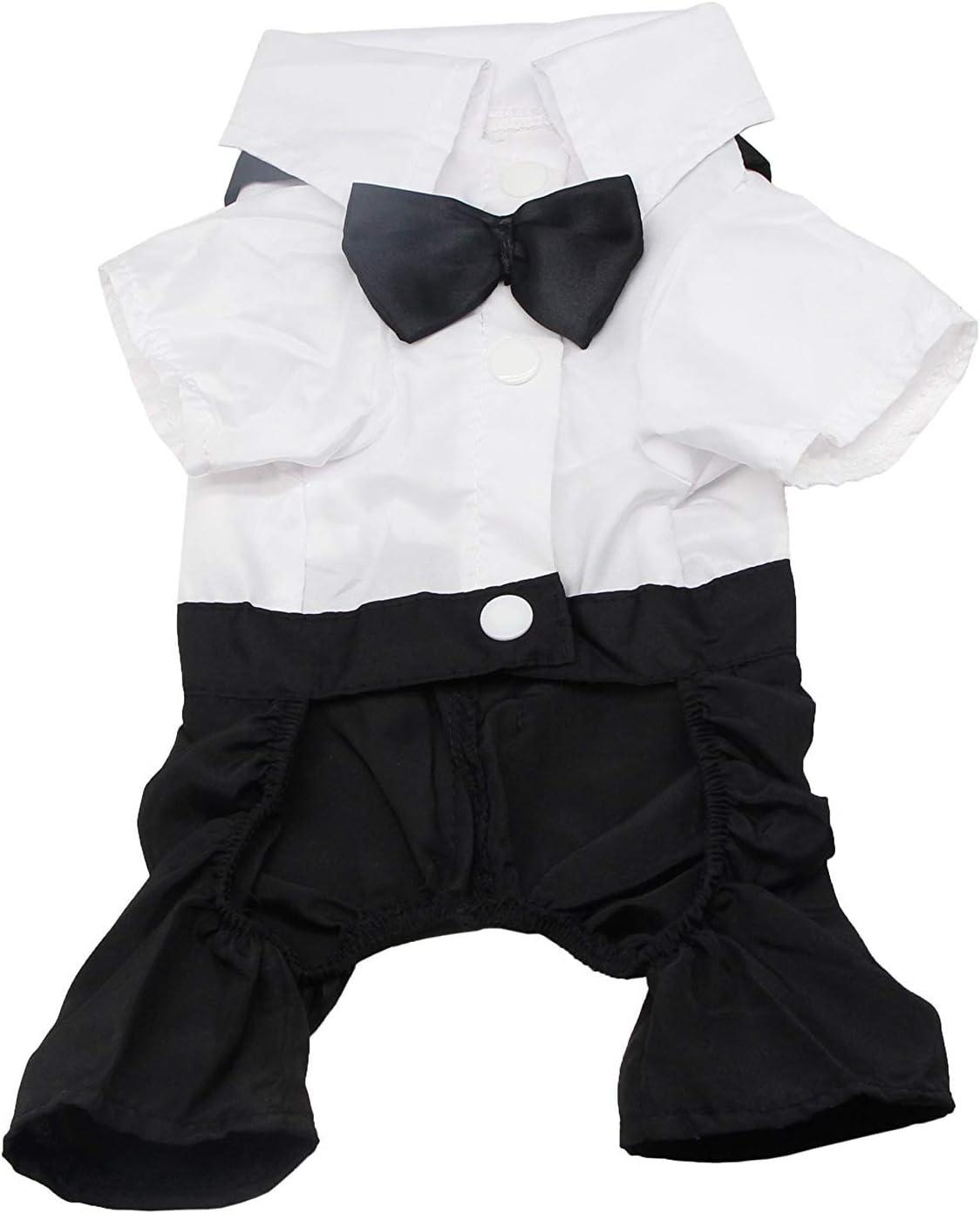 QiCheng & LYS Ropa para Perros Traje Elegante con Estilo de Corbata de moño, Camisa de Esmoquin Formal con Traje de Corbata Negra (XXL)
