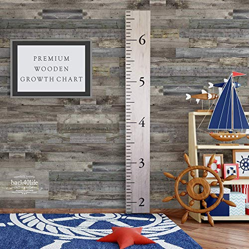 Back40Life Wooden Kids Growth Chart Ruler for Boys and Girls (Benchmark) (Weathered Natural) (Chart Ruler Growth)